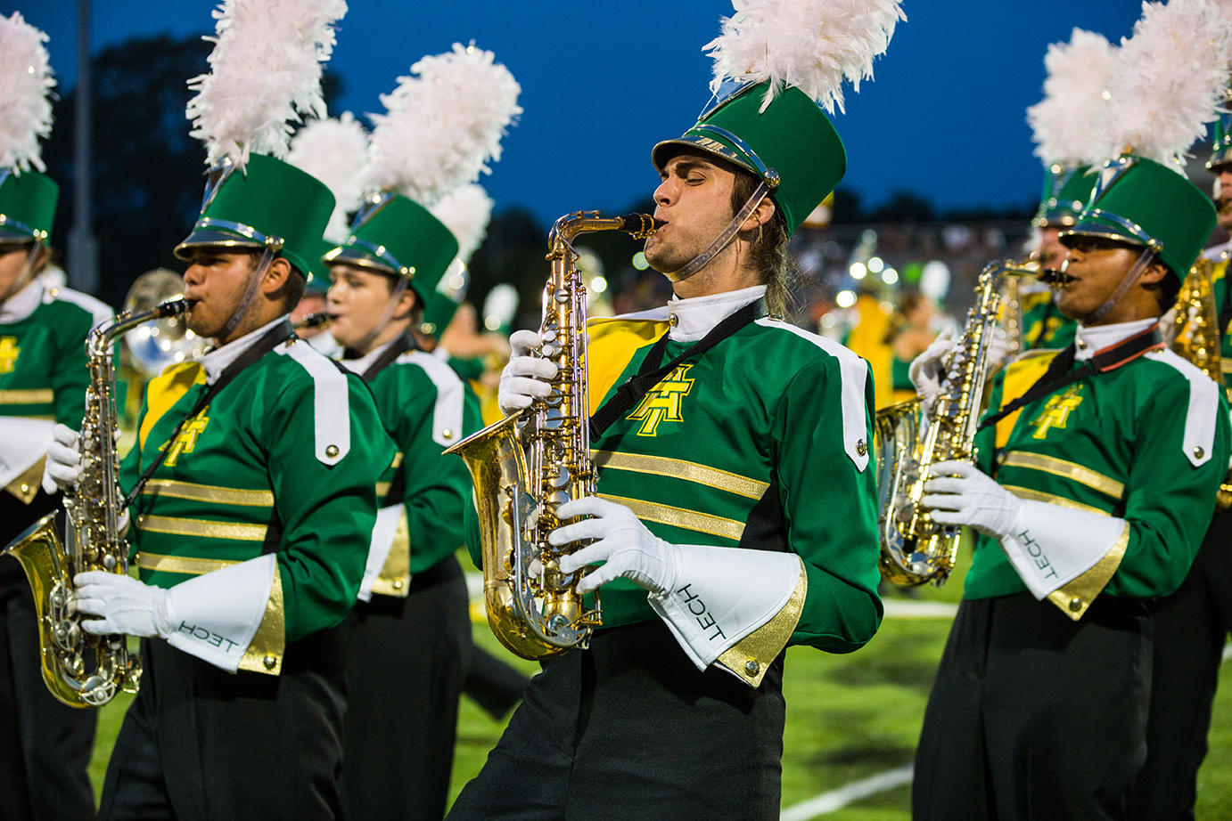 a photo of the award winning ATU marching band, The Band of Distinction