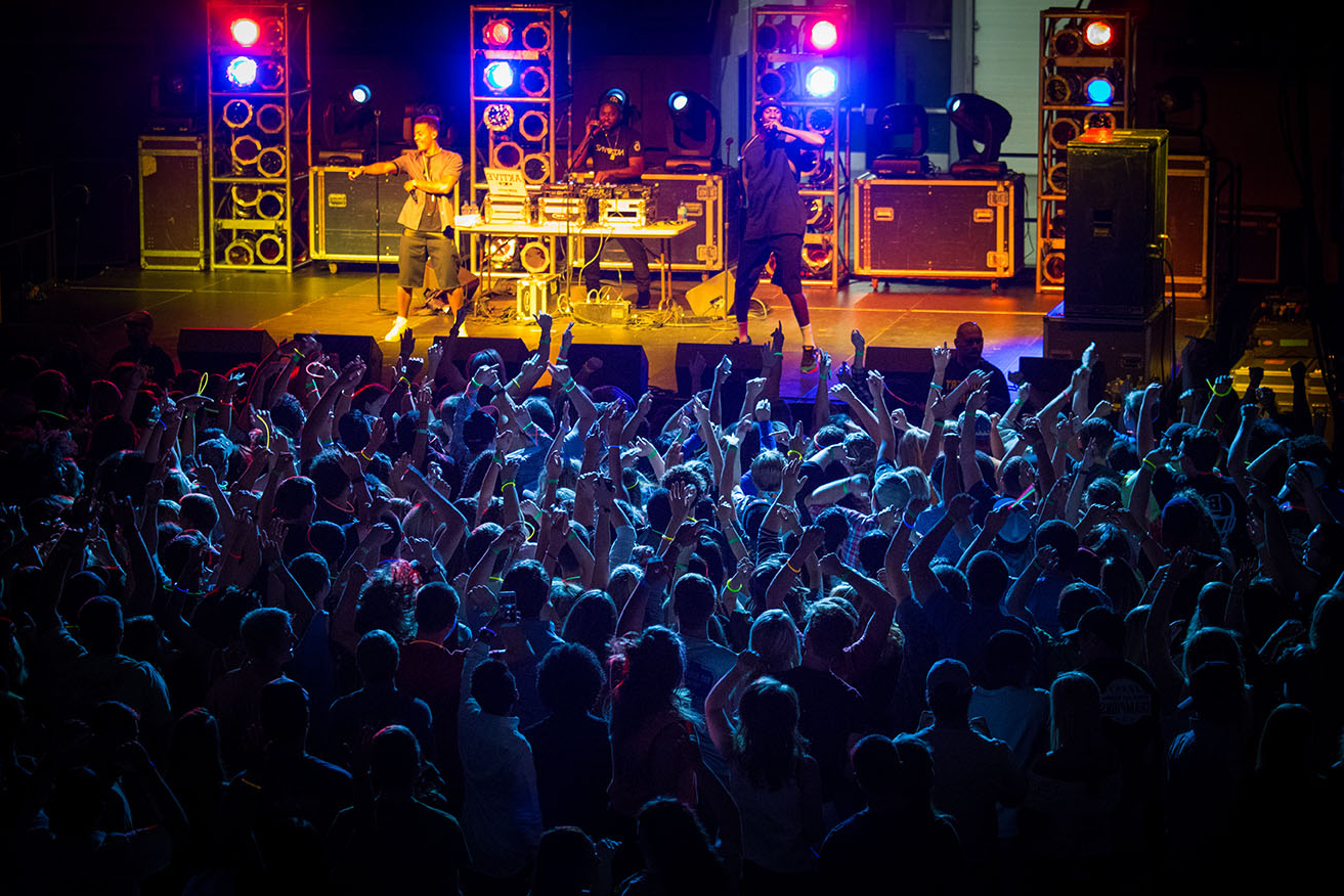 students at an on-campus concert