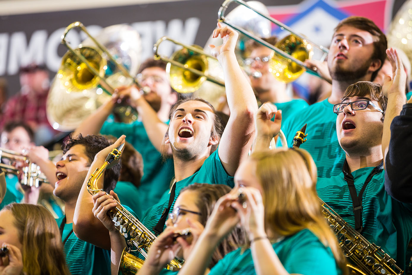 The ATU Pep Band plays at a Basketball game