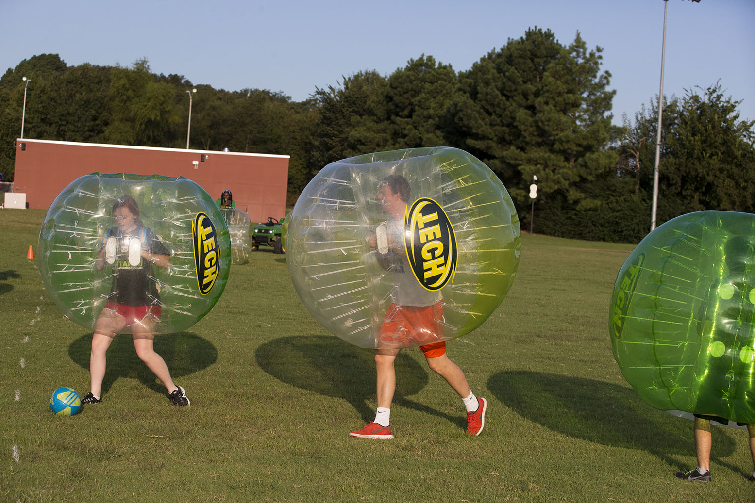 students play bubble soccer to hilarious effect